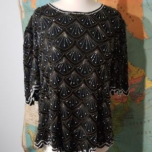 Vintage Black Pearl and Gold Beaded Top